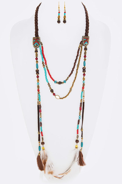 Tassel & Feather Charm Drops Layer Beads Necklace Set