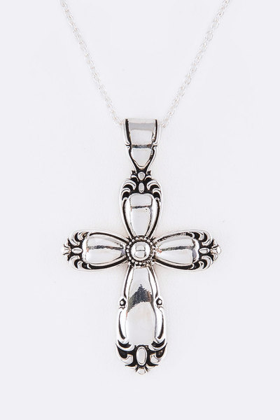 Metal Embossed Cross Pendant Necklace Set