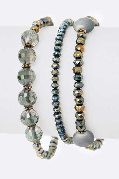 Mix Beads 3PC Stretch Bracelet Set