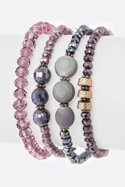 Mix Beads Layered Stretch Bracelet Set