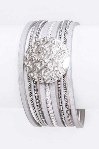 Star Embossed Magnetic Leather Cuff