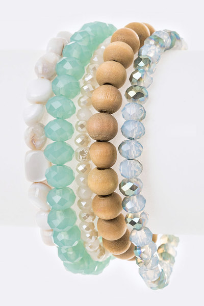 Mix Beads Stretch Bracelet Set