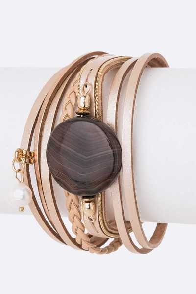 Stone Leather Magnetic Bracelet
