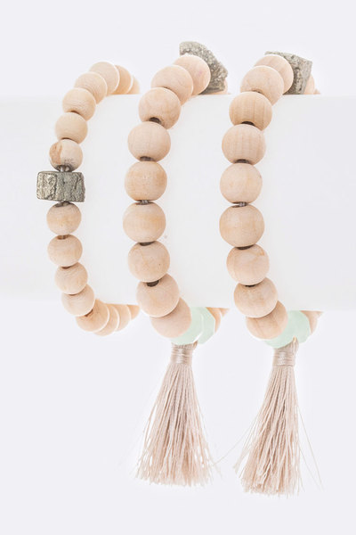 Golden Nugget Wooden Beads Stretch Bracelet Set
