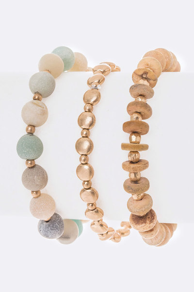 Gem Stone Mix Beads Bracelet Set