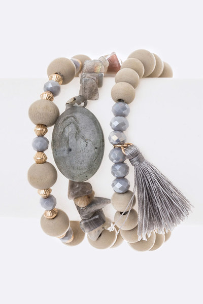 Genuine Stone Wooden Beads & Tassel Stretch Bracelet Set
