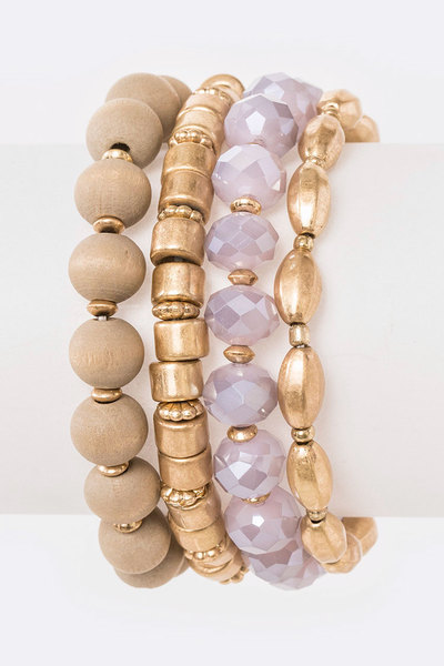 Mix Media Beads Stretch Bracelet Set