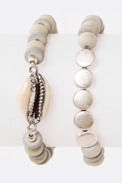 2 In 1 Sea Shell Wooden Beads Stretch Bracelet
