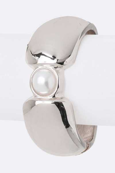 Pearl Accent Hinged Bangle