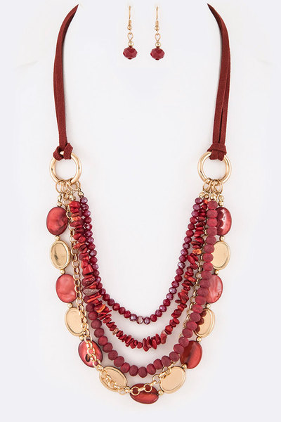 Mix Beads Layer Statement Necklace Set