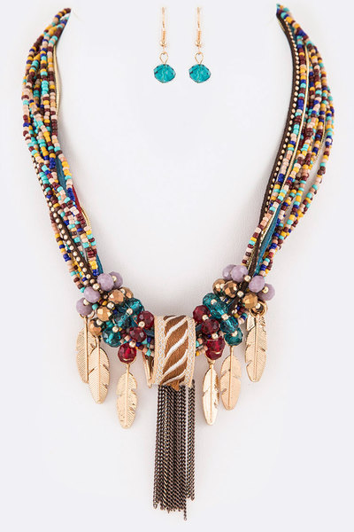 Metal Feather Drop Statement Necklace Set