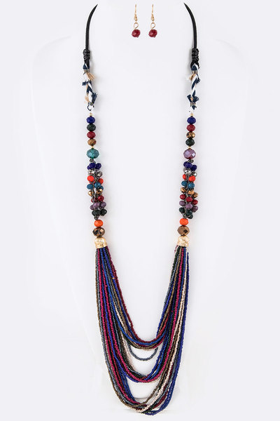 Mix Media Seed Beads Layer Long Necklace Set
