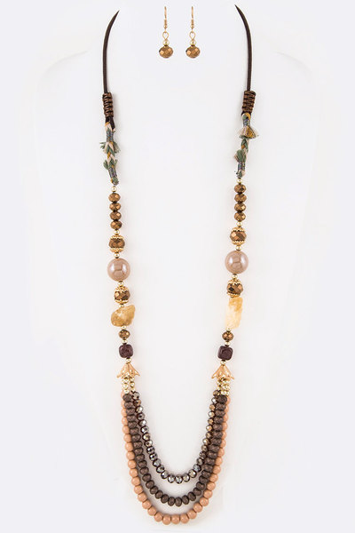 Mix Beads Stone Station Long Necklace Set