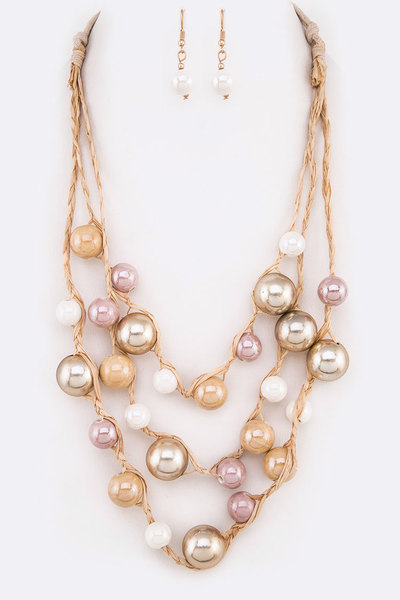 Mix Ceramic Beads Straw Layer Necklace Set