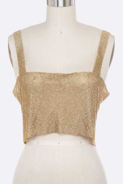 Rhinestone Mesh Statement Tank Body Chain