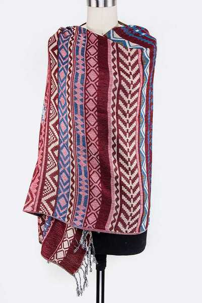 Tribal Pattern Pashmina Shawl Scarf
