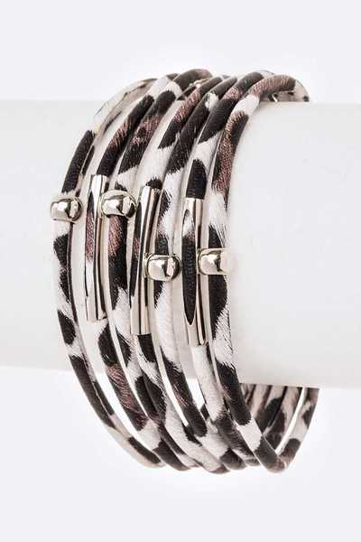 Animal Printed Faux Leather Magnetic Bracelet