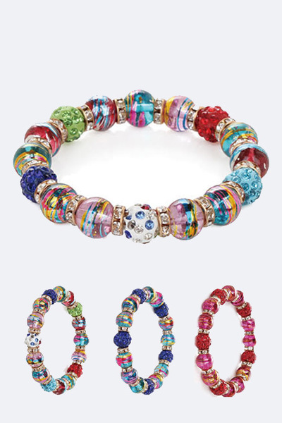 Mix Glass Beads Stretch Bracelet Set