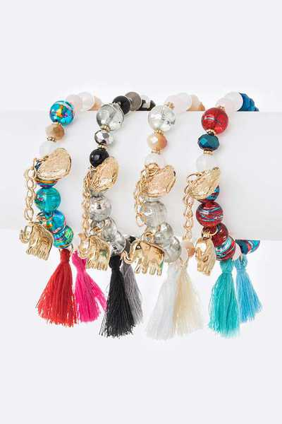 Mix Elephant Heart Charm Tassel Stretch Bracelet Set