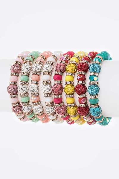 Crystal Beads Mix Color Stretch Bracelet Set