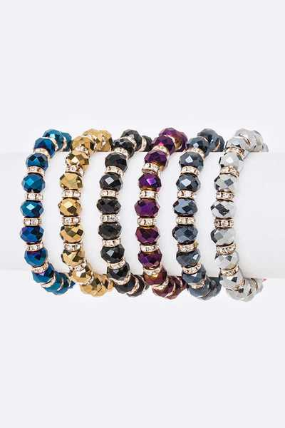 Mix Crystal Stretch Bracelet Set