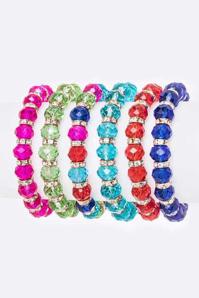 Mix Glass Beads Stretch Bracelet