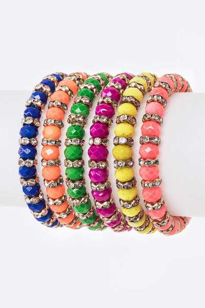 Neon Color Mix Beads Stretch Bracelet Set