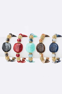 Mix Pebble Beads Stretch Bracelet Set