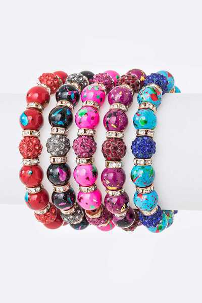 Mix Beads Crystal Stretch Bracelet Set