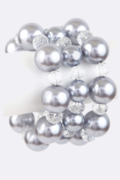 Pearl & Crystal Stretch Bracelet Set
