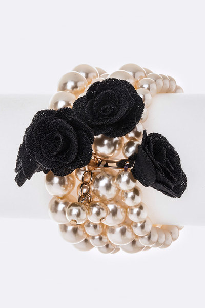 Fabric Flowers Stretch Pearl Bracelet