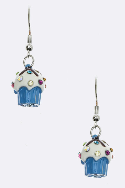 Crystal 3D Petite Cupcake Earrings