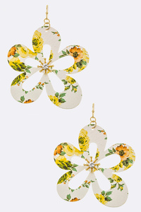 Floral Print Flower Cutout Drop Earrings