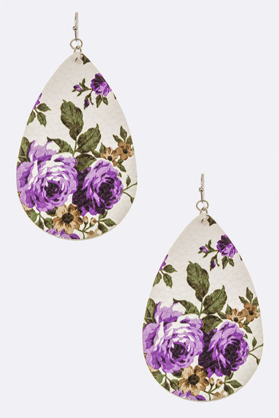Floral Printed Leather Drop Earrings