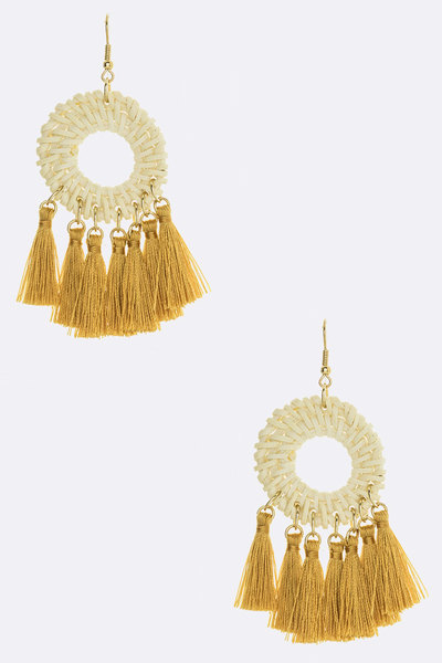 Raffia Braided Tassel Earrings