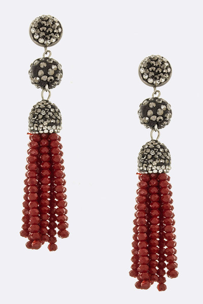 Crystal Ball & Bead Tassel Earrings