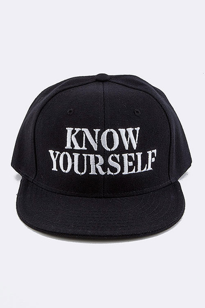 KNOW YOURSELF Embroidered Snap Back Cap