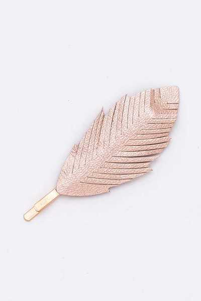 Leather Cutout Feather Iconic Hair Pin