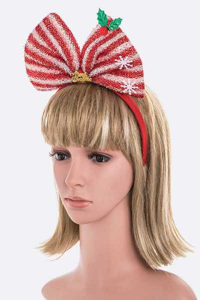 Glitter Christmas Bow Headband Set