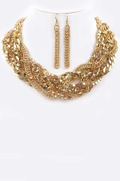 Mix Chain Braided Statement Necklace Set