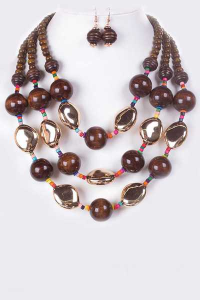 Wooden Beads Layer Necklace Set