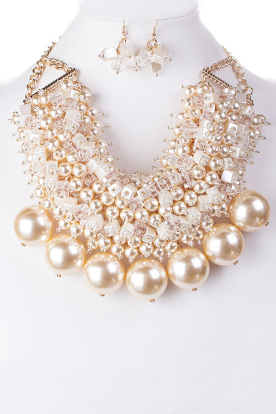 Mix Beads Jumbo Pearls Statement Necklace Set