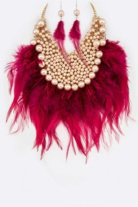Feather Pearl Mix Statement Necklace Set