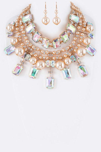 Acrylic Crystal & Pearls Mix Statement Necklace Set