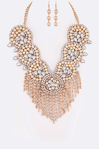 Mix Crystal Pearl Fringe Tassel Statement Necklace Set