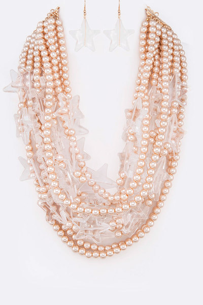 Acrylic Star Pearl String Statement Necklace Set