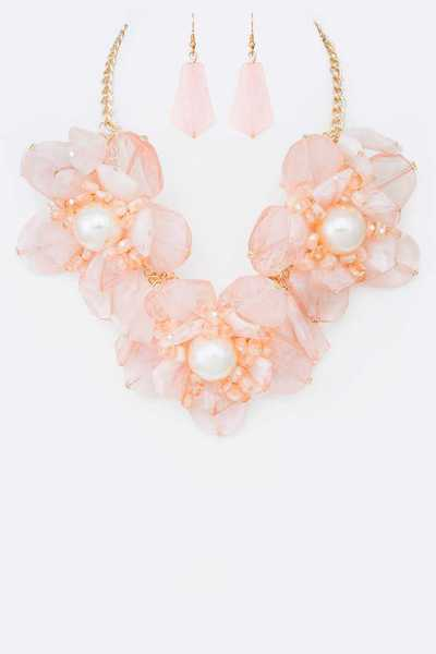 Resin & Pearl Flowers Statement Necklace Set