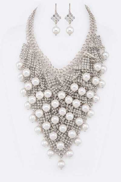 Pearl Drop Rhinestone Statement Necklace Set