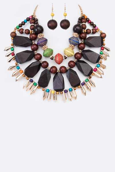 Mix Wooden Beads Necklace Set