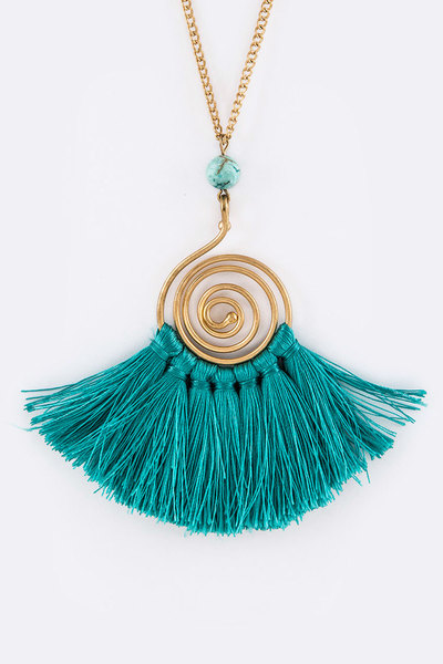 Tasseled Vortex Pendant Necklace